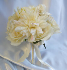 17pcs Wedding Bridal Bouquet Bride Decoration Arrangement Silk Flowers IVORY