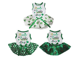 Happy St.Patrick's Day White Cotton Top Green Clover Tutu Pet Dog Puppy Dress