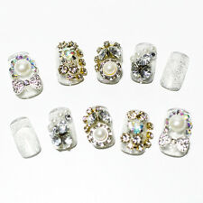 Acrylic Nail Art Elegant Crystal Bride Wedding Tips Different Pattern Party Bow