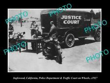 OLD HISTORIC PHOTO OF INGLEWOOD CALIFORNIA, POLICE MOBILE JUSTICE COURT 1927