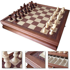 """19"""" Large Deluxe Chess Board Game Set Drawer Storage Box Walnut Wood 1208M"""