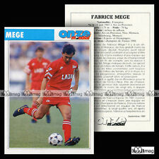 MEGE FABRICE (OGC NICE, STRASBOURG, AS MONACO)- Fiche Football 1989
