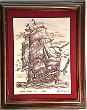 EUGENE ANDREYEV RARE ETCHED/ENGRAVED PORTRAIT OF HISTORICAL SHIP  1982