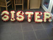 Sister Silk Funeral Artificial Flowers 6 Letter Wreath Floral Tribute Memorial