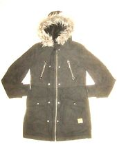 Roxy Winter Coat Black Gray Jacket Fur Hood Bomber Parka Womens Size M