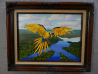 MACAWS OF THE AMAZON original oil on canvas painting artist signed birds parrots