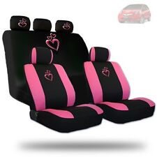 For Honda Deluxe Pink Heart Car Seat Covers and Headrest Covers Gift Set