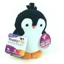 """TrustyPup Penquin Plush Dog Toy with Silent Squeaker 6"""" Durable For M-L Dogs"""