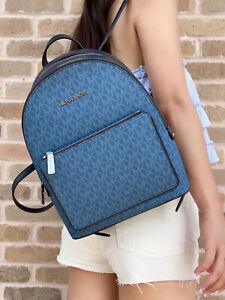 Michael Kors Adina Medium Backpack Dark Chambray Blue MK Leather PVC Logo