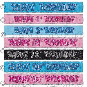 FOIL BANNER Glitz Birthday Party BANNERS Decorations 9ft Glitz 2 Colours 1-100th