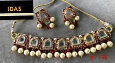 Designer Gold Tone Bollywood Style Kundan Jewelry Women Bridal Necklace Set