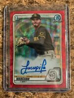 2020 Bowman Chrome Tucupita Marcano Red Shimmer Refractor Rc Padres #'d 2/5
