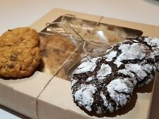Homemade cookies in a gift box ,oatmeal cookies , candied fruit , cocoa cookies