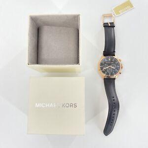 Michael Kors Mens NIB Mk8535 Gage Chronograph Leather Watch Black Rose Gold