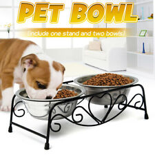 Stainless Steel Double Feeder Dish Dog Cat Pet Food Water Bowl Retro Iron Stand