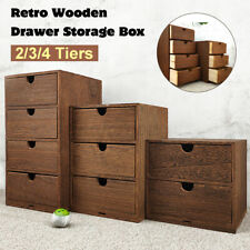 Rustic Chest Drawers Wooden Storage Organizer Small Trinket Box Desktop Cabinet
