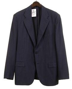 Kiton Blue Striped Flannel WOOL CASHMERE Blend 2pc Suit Jacket Pants 56 46
