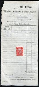RHODESIA RAILWAYS 1924 RECEIPT BEARING 1d ADMIRAL AS FISCAL.SCARCE. A474
