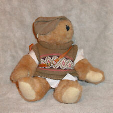 """TENDER HEART TREASURE PLUSH BEAR WITH GOLF CLUB CARRIER & OUTFIT 13.5"""" TALL VGC"""