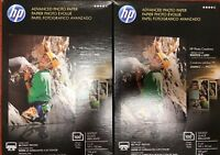 "HP Advanced Photo Paper. 4""x6"" Glossy. 2 X 100 Sheets. New in Box. Free Shipping"