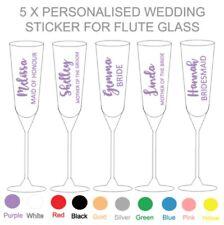 5 x PERSONALISED WEDDING FLUTE GLASS - VINYL STICKERS