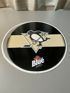 Pittsburgh Penguins Labatt Blue NHL Hockey Puck Tin Sign