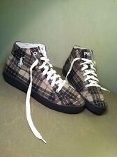 Polo Ralph Lauren Brown Tan Flannel Plaid Hi Top Pony Tennis Shoes Size 9.5 D