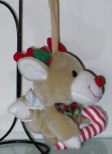 Vintage Elfe 1995 Baby Reindeer Christmas Musical Pull String Stuffed Animal
