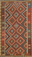 Geometric Reversible Kilim Oriental Area Rug South-western Hand-woven 5x8 Carpet