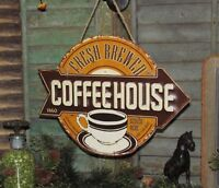 Primitive Antique Vtg Style Diner 1860 FRESH BREWED COFFEE HOUSE Metal Tin Sign