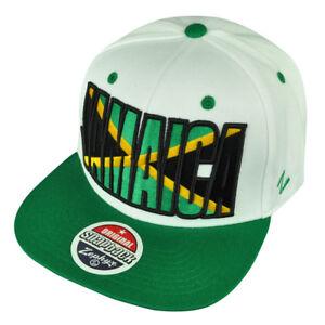 Zephyr Jamaica Caribbean Adjustable Snapback White Backdrop Villain Hat Cap