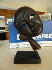 Carved Wood Wooden Face Mask Resting Leaning on Hand Fist Statue