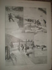 The Ice Harvest at Davos Switzerland 1899 old prints