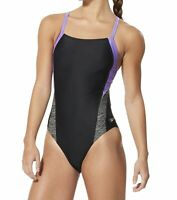 Speedo Women's Swimwear Purple Black Size 8 One-Piece Contrast Cutout $49 #852