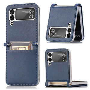 PU Leather Phone Holder Card Slot Phone Case Cover for Samsung Galaxy Z Flip 3