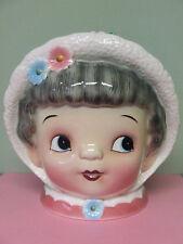 RARE/VHTF Vintage Lefton (ESD) Grey Haired Girl (Miss Dainty) w/Plaid Hood & Flo