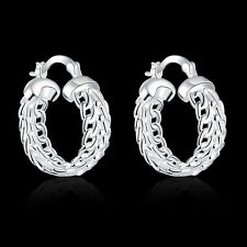 925Sterling Silver Jewelry Classic Circular Hollow Women Earrings Hoop EY715