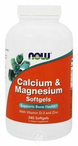 Now Foods Calcium & Magnesium + Vitamin D3, Zinc 240 softgels IMMUNE ANTIOXIDANT