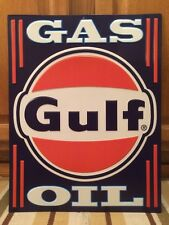 Gulf Gas Oil Metal Decor Motor Gulflube Gulfflex Pump Can Garage