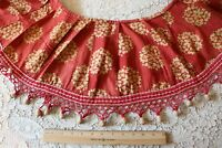 """Antique French Resist Dyed Turkey Red/Yellow c1810-1930 Cotton Valance~85""""X10.5"""""""