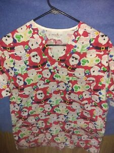 Peaches Scrub Top size small Santa Christmas Holiday Medical Vets Health Care