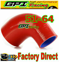 "RED 2""-2.5"" 51mm to 64mm Silicone 90 Degree Elbow Reducer Pipe Hose INTERCOOLER"