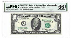 1963A $10 MINNEAPOLIS FRN, PMG GEM UNCIRCULATED 66 EPQ BANKNOTE