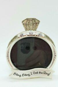 "Engagement Rhinestone Ring Shaped Photo Frame ""Bling Bling I Got The Ring"""
