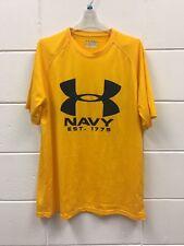 Under Armour Men's Shirt Sz Md Navy Heat Gear Loose Short Sleeve Yellow Black