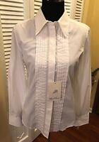 Max Mara White Cotton Women's Tuxedo Style Button Down Blouse NWT - Size 38