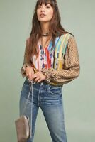 New Anthropologie Retro Peasant Blouse printed Geo size S $130 NWT