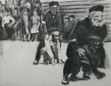 Holocaust Children & Leap Frog Game Charcoal Drawing- 20 x 26- I. L. Winarsky