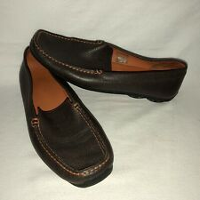 GEOX Men's 45 Brown Leather Slip On Driver Moc Loafers