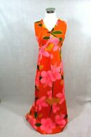 VINTAGE HAWAIIAN DRESS Women's Size Small 60's Hukilau Fashion Tiki Maxi V Neck